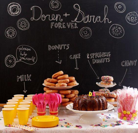 Desert table chalkboard for parties.