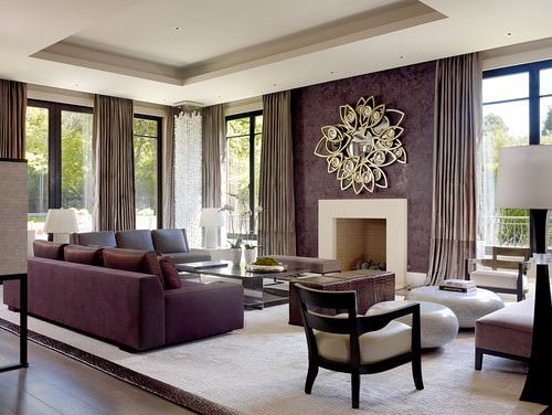 101 Beautiful Living Rooms With Fireplaces Of All Types Photos Purple Living Room Living Room Decor Furniture Contemporary Living Room Beautiful living rooms with fireplace
