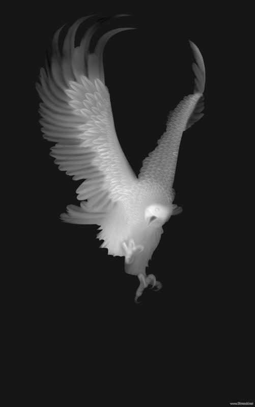 Eagle Grayscale Image For Cnc 3d Routing Bmp File Grayscale Image
