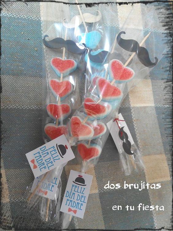 Brocheta corazones tricolor dia del padre regalo dulce - Que regalar a un padre ...