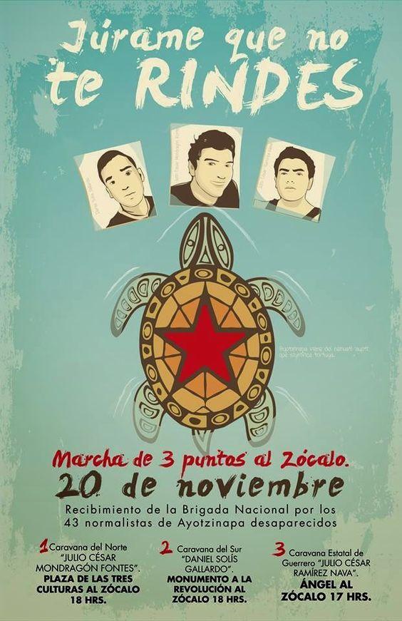 Marchas desde tres puntos cardinales al Zócalo: por la presentación de los 43 normalistas de Ayotzinapa