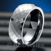 Sparkling RnB Mens Tungsten Ring Engagement Wedding Band 8mm