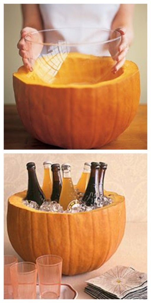 Carve a hole big enough in your pumpkin to hold a bowl for a mess-free punch station.: