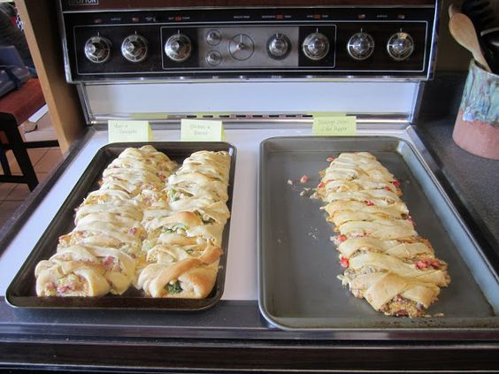 Rapunzel party - braided stuffed breads: ham, cheese, pineapple  brocolli and chicken  pizza toppings  spaghetti bread