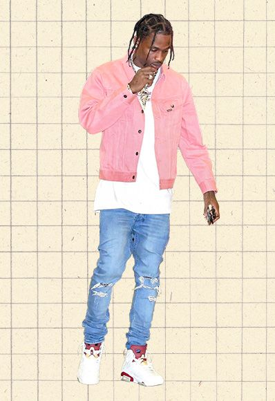 outfit of the day travis scott pink denim jacket supreme tee ootd asos
