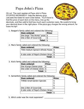 math worksheet : adding decimals  papa john s pizza menu math activity worksheet  : Free Menu Math Worksheets