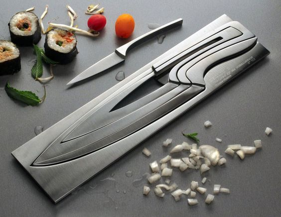 ultra sylish knife set...further sold by the addition of sushi.