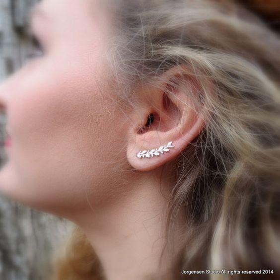 Long Leaf Earrings Sterling Silver Ear Climber earring or Ear Cuff Sweep Earrings Handmade