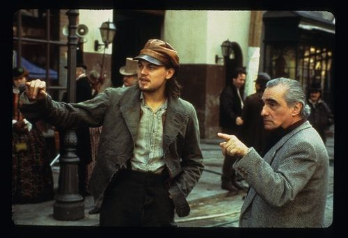 "Martin Scorsese with actor Leonardo DiCaprio on the set of the 2002 film ""Gangs Of New York"""