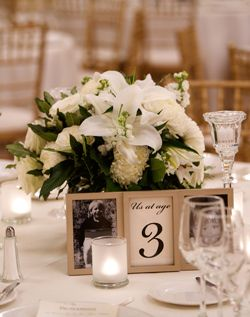 photos of bride and groom at age of table numbers- such a great idea!!