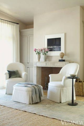 First and foremost, the house was designed for repose—whether in the master suite, a cloud-like symphony of white and gray, or in the cozy library, with its brown mohair sofa and jewel tone Flemish tapestry.