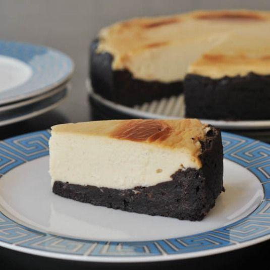 vegan, gluten free brownie bottomed cheesecake