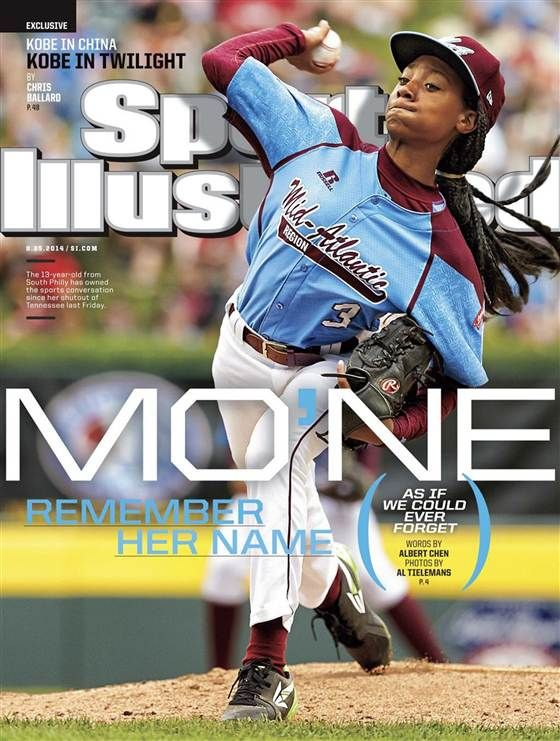 Mo'ne Davis on the cover of Sports Illustrated magazine | Mo'ne Davis already has broken serious ground for kid baseball players: Last week the 13-year-old ace right-hander became the first female pitcher to throw a shutout in a Little League World Series game — and only the sixth girl to get a hit in the 67-year-old tournament.