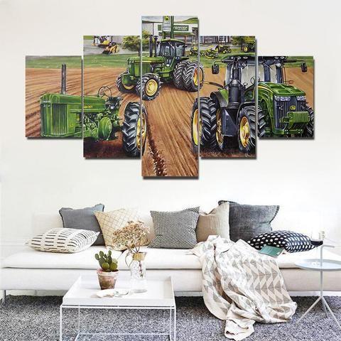 Farmer Blue Tractor Art Framed Canvas Home Decor Canvas Wall Art Canvas Frame