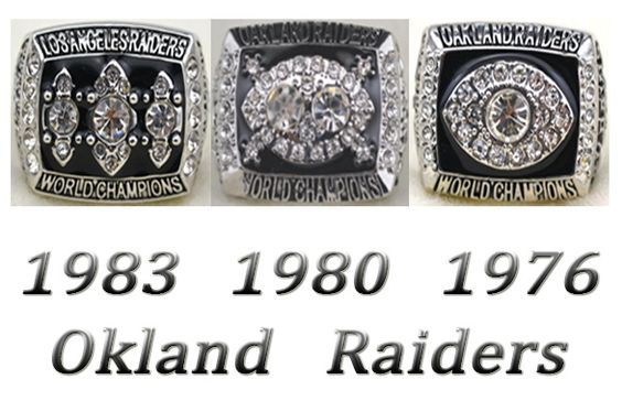 XiaKoMan 1976 1980 1983 Oakland Super Bowl Raiders Championship Rings Set Size 11 with Box for Mens Women Kids Fathers Boys
