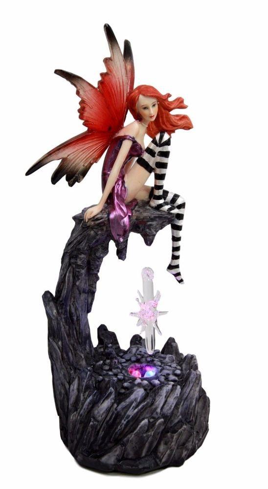 Fairy Magenta W Crystal Led Night Light Figurine Fantasy Sculpture 8 25 Height Led Night Light Beautiful Fairies Night Light