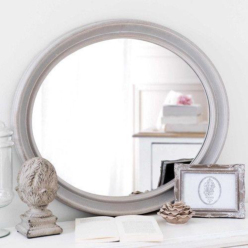 Miroir ovale en bois gris H 70 cm EMELINE