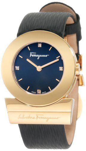 Ferragamo Women's F56SBQ5059 S009 Gancino Rose Gold Plated Black Dial Diamond Indices Watch Ferragamo. $1375.00. Rose gold plated case, hands, hour markers and closure. Water-resistant to 99 feet (30 M). Diamonds on dial. Genuine black epi leather band; Black genuine epi leather band. Precise Swiss Quartz movement