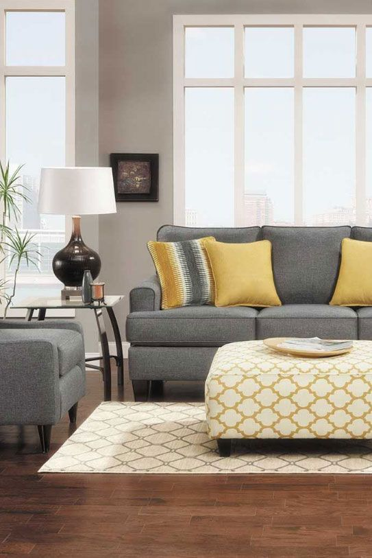 The Maxwell Gray Collection From Fusion Furniture Incorporates The Gray And Yellow Color Yellow Living Room Grey And Yellow Living Room Grey Couch Living Room