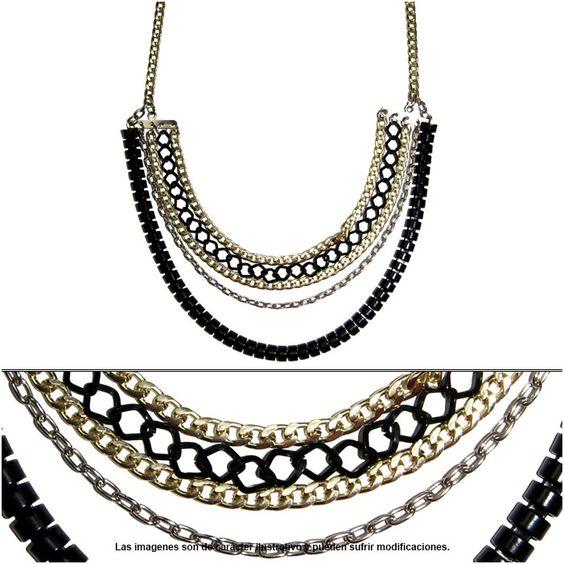 Collar de cadenas varios estilos y colores, largo mediano