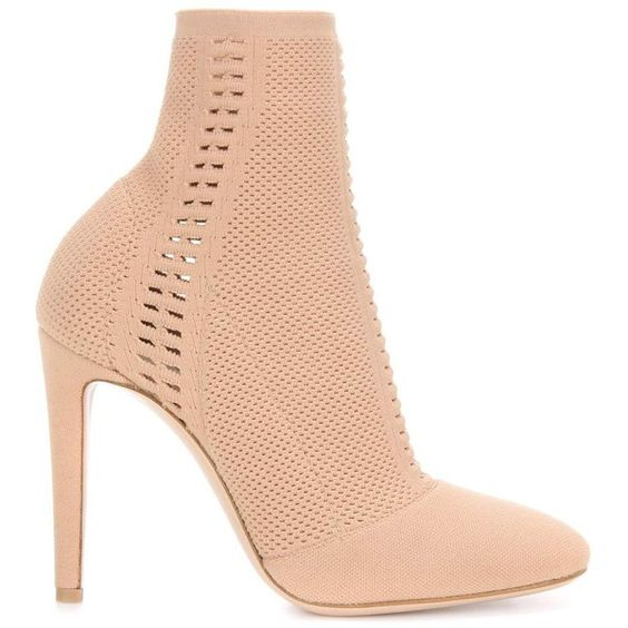 Gianvito Rossi Vires Knitted Ankle Boots (€1.050) ❤ liked on Polyvore featuring shoes, boots, ankle booties, beige boots, gianvito rossi boots, beige ankle boots, ankle boots and bootie boots