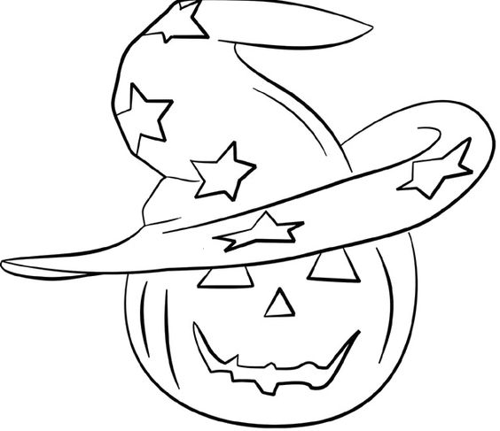 Head Pumpkin And Witch Hat Coloring Pages Halloween
