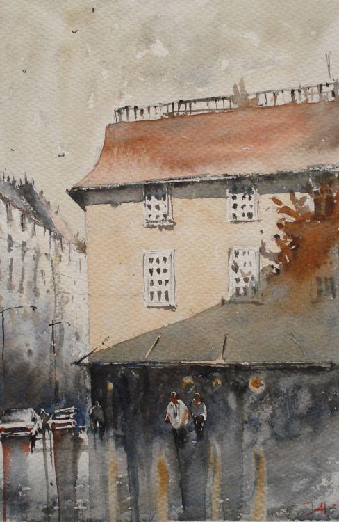 "Duncan Halleck: ""Place Rouppe"" 28x38cm, 2016, Watercolor painting"