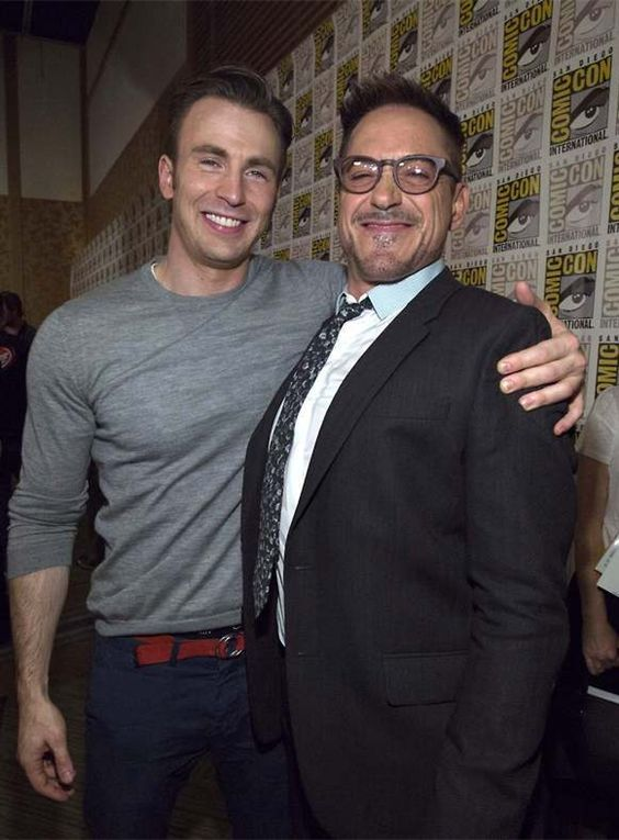 Chris Evans and Robert Downey Jr. at San Diego Comic Con, July 26, 2014.