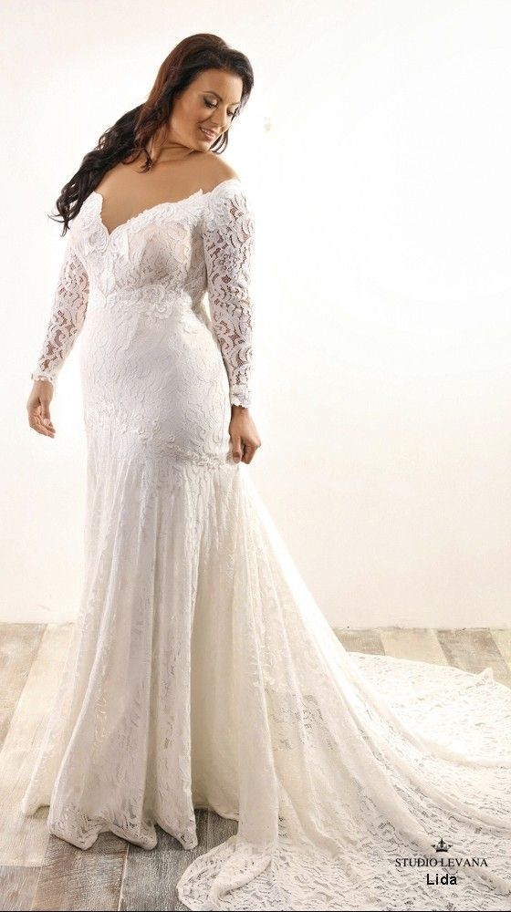 Lida plus size mermaid wedding gown with long lace sleeves ...