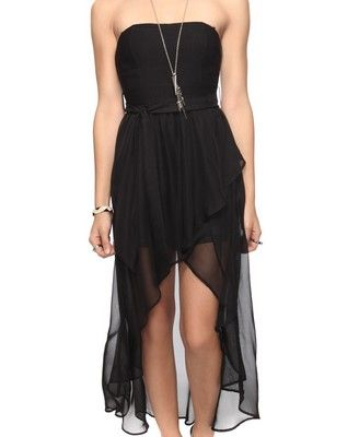 Dramatic High-Low Dress w/ Belt | FOREVER21