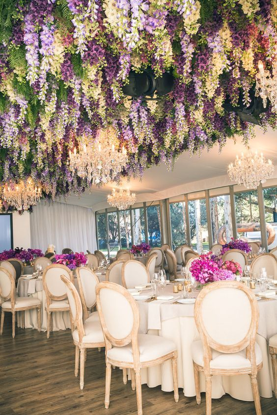 17 Incredible Hanging Wedding Flower Ideas Flower Ceiling Wedding Flower Arrangements Hanging Flowers
