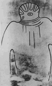 7 mil anos - Antigüidade das mais de 5 mil pinturas rupestres encontradas na região de Tassili, no Saara argelino, na África, pesquisadas pelo investigador francês Henri Lhote. Uma das imagens mostra um grupo de mulheres sendo conduzidas à  um objeto esférico luminoso por um ser com cabeça redonda. Este ser está unido à  esfera luminosa através de uma espécie de cordão umbilical. Abaixo duas imagens obtidas em Tassili. http://www.extranormal.eu