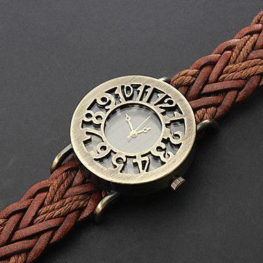 EUR € 4.94 - La montre des femmes de bohème creuse cadran tricoté bracelet en cuir, livraison gratuite pour tout gadget!