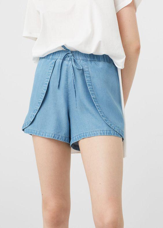 Denim soft shorts   Pinterest   Shorts, Mango and Frances o'connor