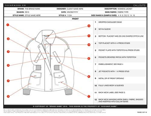 Sample Tech Pack Free Pdf Download Techpacks Co Tech Pack Tech Mood Board Design
