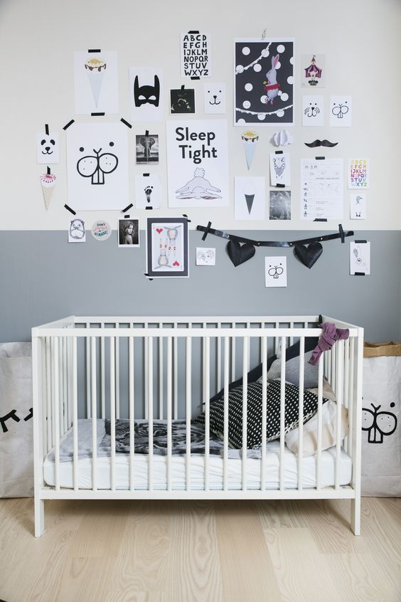 A fun gallery wall for a nursery: