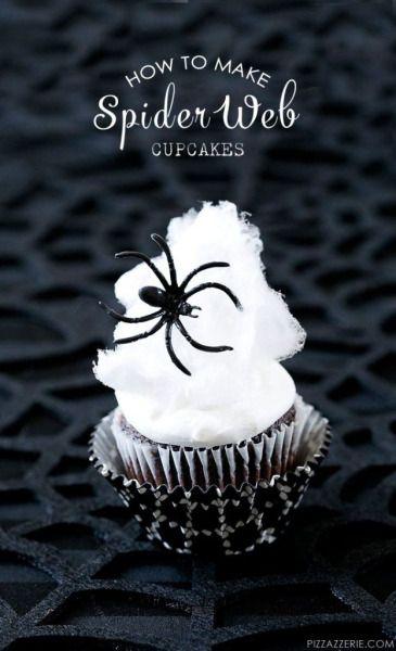 costumeideashalloween:  Halloween Spider Web Cupcakes