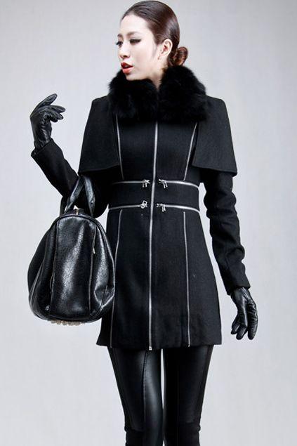 Cloak-look Design Woolen Black Overcoat from Romwe.com
