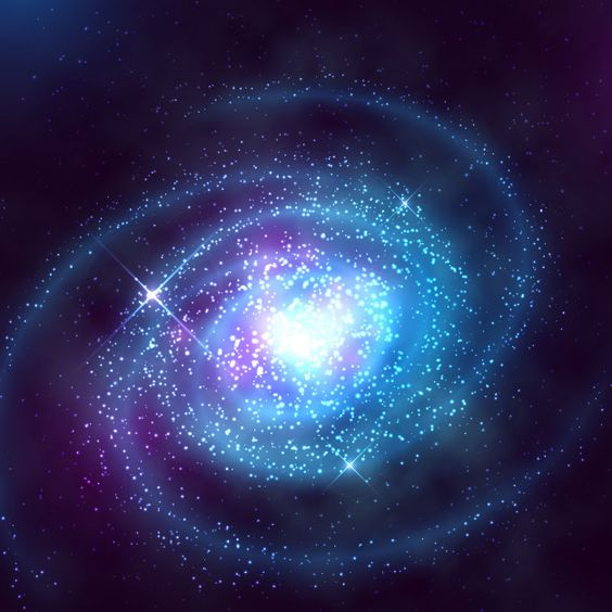Galaxia espiral en el espacio exterior con la ilustración de vector de cielo azul estrellado Vector Premium