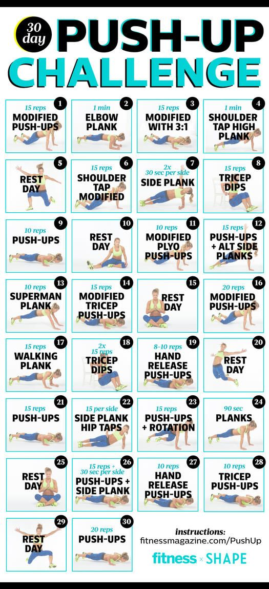 Try our 30-day push-up challenge! Holly Rilinger, has put together the ultimate 30-day pushup challenge that slowly increases reps and provides complementary moves to build your triceps and core strength. We'll give you the tools you'll need to master the mat and reveal your most sculpted upper body yet.