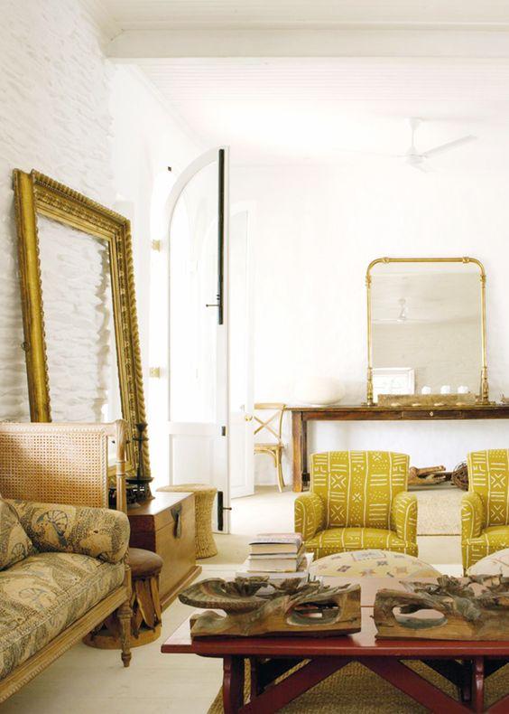 Mustard Living Room Decor: Love The Mustard Yellow Mudcloth