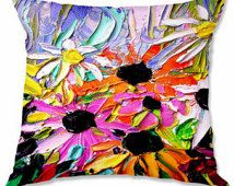 Woven pillow flowers floral spring art by Aja 16x16 18x18 20x20 26x26 inches Stories From A Field Act 231