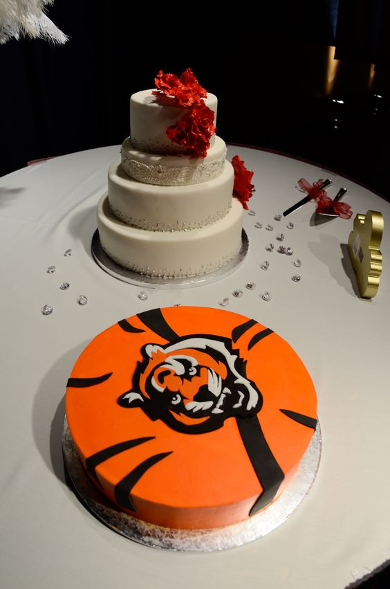 Cincinnati Bengals Grooms Cake Wedding Cake Red Sugar Flowers Layer 2 Inspired By Bridal