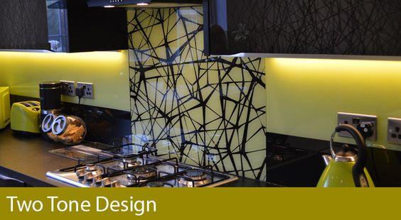 Two Tone Design Kitchen Splashback by CreoGlass Design (London,UK).  #kitchen #kitchendesign