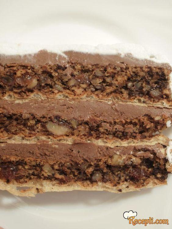Recept za Italijansku tortu. Za spremanje torte neophodno je pripremiti oblande, belanca, orah, keks, suvo grožđe, šećer, prašak za pecivo, žumanca, čokoladu, šlag.: