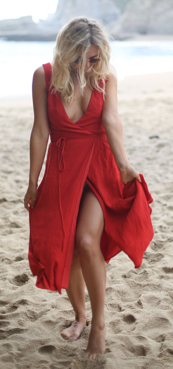 #summer #outfits  Red Wrap Dress