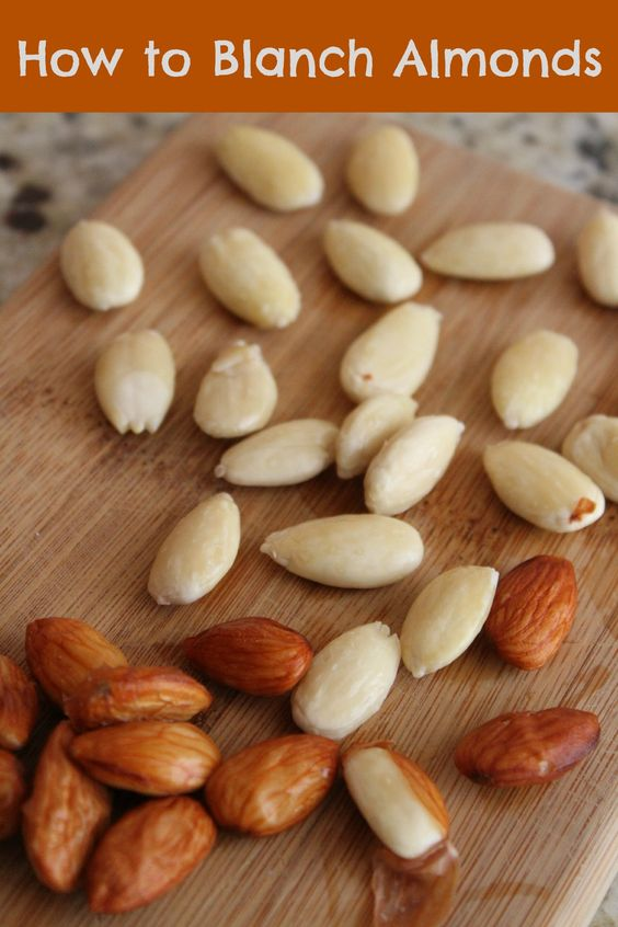 How to Blanch Almonds  pour boiling water over them and sit for 1 minute in a bowl drain & rinse in cold water skins will just peel off