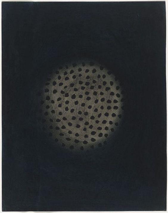 "Yayoi Kusama (Japanese, born 1929) Untitled  (1952). Charcoal and ink on paper, 15 3/4 x 11 7/8"" (40 x 30 cm)."
