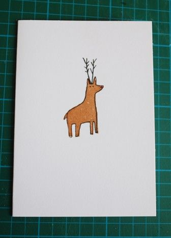 Pack of three gocco printed cards by Lizzy Stewart, $6