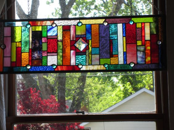 Stained Glass, Fluorescent Light Covers And Glasses On